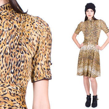 Leopard Print Dress Kimono Collar High Waisted Slim Belt Vintage 1960s 60s