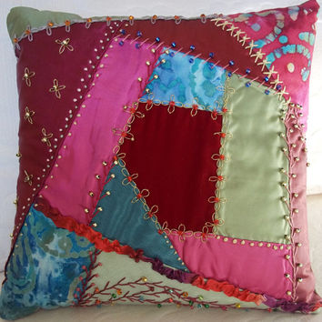 Pillow Crazy Quilt Hand Pieced Vintage & New Fabrics Silk Cotton Velvet Hand Dyed, Embroidered Highly Decorative Some Metallic Threads Beads
