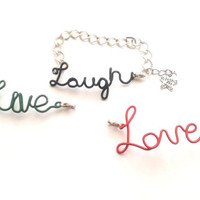 Wire Wrapped Live Love Laugh Charms Changeable Bracelet, Wire Wrapped Colourful Jewelry, Wire Wrap Word Bracelet, OOAK Interchangeable Word