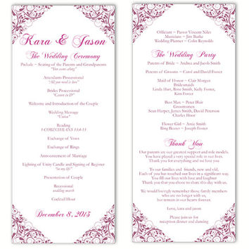 Wedding Program Template DIY Editable Word File Instant Download Program Eggplant Program Floral Program Purple Printable Program 4 x 9.25