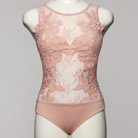 Destiny Floral Lace Bodysuit - Blush