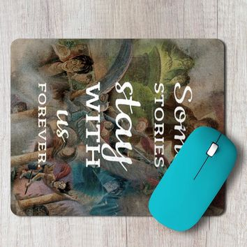 Rectangle Mouse Pad Some Stories Quote Harry Potter Books Illustration Collage