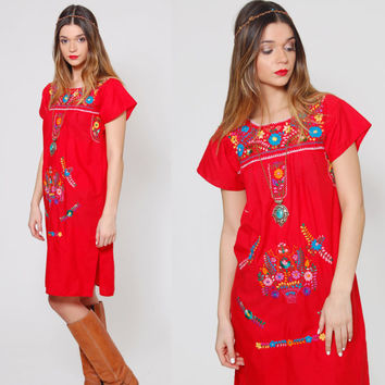 Vintage MEXICAN Mini Dress Red EMBROIDERED Ethnic Hippie Dress Boho Festival Dress