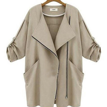 Roll Up Sleeve Side Zip Collar Trench Coat