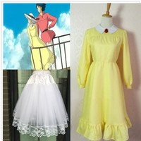 Howl's Moving Castle Sophie cosplay Dress including Petticoat free shipping