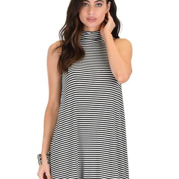 Lyss Loo Olivia Tank Striped Black Shift Dress