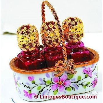 Basket With 3 Perfume Bot-Tles Home Limoges Boxes