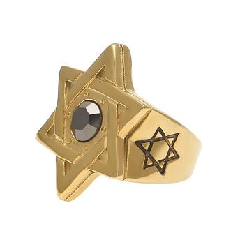 Gold Star of David Ring With Gallstone
