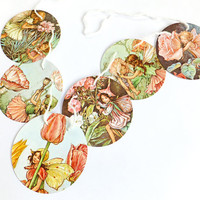 Paper Garland, Flower Fairies Bunting Flags, Pink, Cicely Mary Barker, Mini Flower Fairy banner, Nursery Bunting, Paper Banner, Pennants