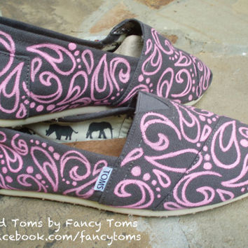 Handpainted Custom TOMS Shoes - Swirls and Spots PINK