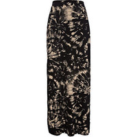 Black tie dye split side maxi skirt