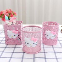 Keythemelife Desktop Storage Box Hello Kitty Pen Holder Multi-functional Cute Student Fashion Office Supplies CF
