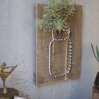 Jar String Art On Wooden Plaque