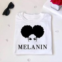 Melanin Tumblr Hipster Slogan T-Shirt High Quality Cotton Stylish Tops Graphic beautiful Girl t shirt summer Aesthetic Outfits