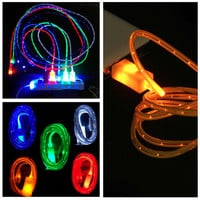 Luminous led light usb data sync charger cable for iphone 5 5s 6 6s 6plus Android Phone HTC Samsung BB SONY LG