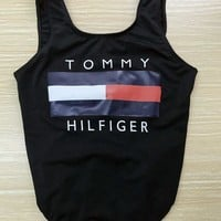 Tommy Hilfiger Tide brand women's sexy leaky triangle one-piece swimsuit Black