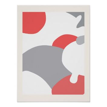 Coral Pink White Grey Abstract Art Wall Poster