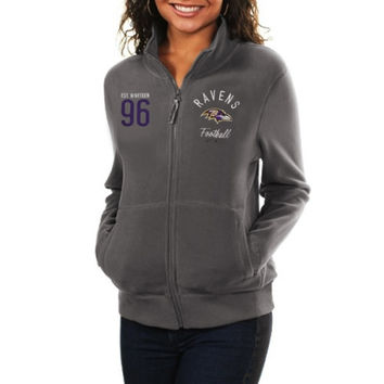 Women's Baltimore Ravens Gray Polar Fleece Full-Zip Jacket