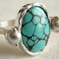 Turquoise Ring with Freshwater Pearl Accents Sterling Silver Unique Artisan Hand Fabricated Hand Made