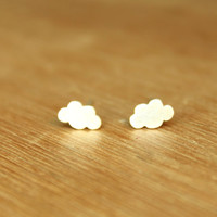 Tiny Cumulus Clouds stud Earrings- Sterling Silver