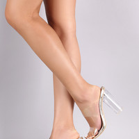 Transparent Double Band Round Chunky Heel Mule | UrbanOG