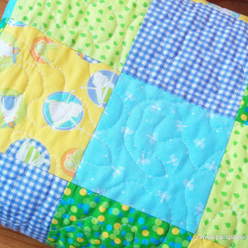 Baby Quilt or Throw Blanket Patchwork with Minky Backing Blues Yellows Aqua Greens Frogs