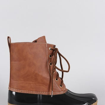 Contrast Lace Up Duck Ankle Boots
