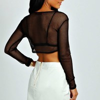 Masie Mesh Long Sleeve Crop Top