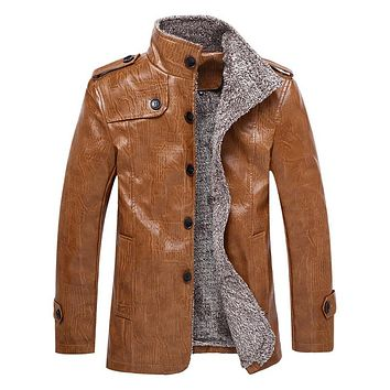 Men's Winter Leather Jacket Men Slim Fit Leather Jackets And Coats
