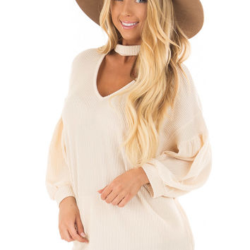 Cream Ribbed Loose Fit Top with Mock Neck