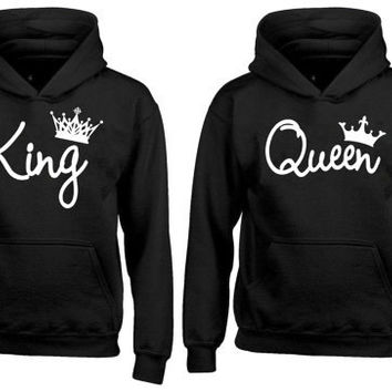 Couple Matching Hoodie King Queen Pull Over Hoodies For Couples Valentines Day Husband Wife Boyfriend Girl Friend  Cool Sweatshirt