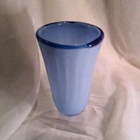 Light Blue Glass Vase.  Hand Blown Glass Vase with Cobalt Lip Wrap.  Ribbed Blue Blown Glass Vase.