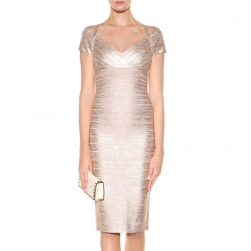 '2 Levels From Heaven' Elegant Metallic Bandage Dress