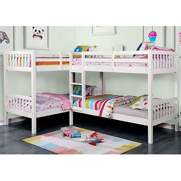Hannah White Corner Quadruple Bunk Bed