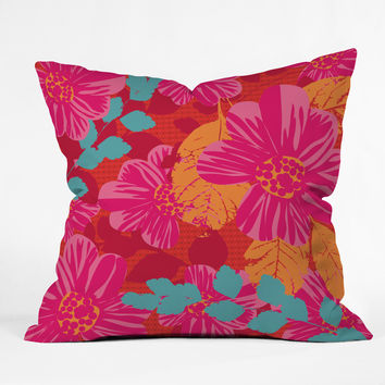 Caroline Okun Smoldering Rosy Blooms Throw Pillow