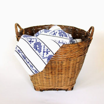 vintage wicker basket // rustic storage and organization // bamboo laundry basket