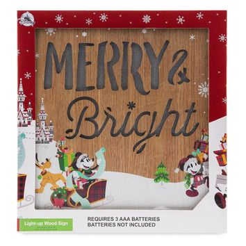 Disney Parks Nordic Winter Santa Mickey and Friends Light-Up Wood Sign New w Box