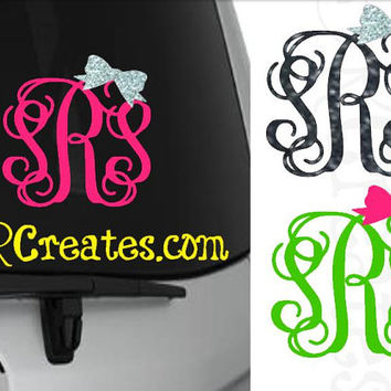 Personalized Script Monogram Decals with Bow - Glitter or Regular Vinyl, Many Sizes