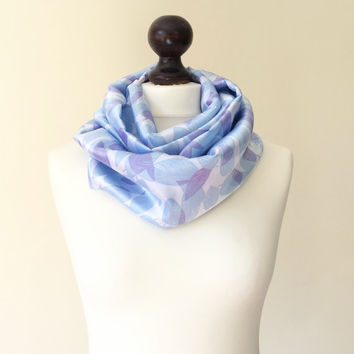 Blue Lilac Silky Satin Infinity Loop Circle Scarf , Floaty Fabric, Women, Lightweight Scarf, Gift Ideas for Her
