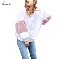 Romantichut Autumn Faux Fur Women Hoodies Sweatshirs Harajuku Kawaii Casual Oversize Fashion 2017 Winter Jacket moletom feminina