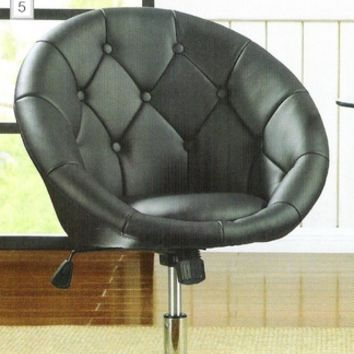Black leather like vinyl scoop chair with button tufted styling and chrome metal base with adjustable height