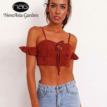 NewAsia Garden High Quality Lace Up Suede Crop Top Vest Women Backless Sexy Ruffles Camis Tank Top Casual Summer Cropped Shirt