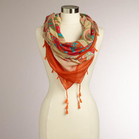 Orange and Ivory Paisley Floral Square Scarf