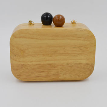 Wooden Clutch Bag Jewelry Box Evening Bag Bridal Chain Shoulder Bag Mini Pouch Handbags