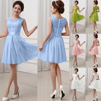 Fashion Women Lace Short Dress Prom Evening Party Cocktail Bridesmaid Wedding US