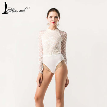Missord  Sexy O-neck long-sleeved Lace stitching bodysuit playsuit FT5191