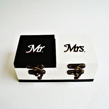 Double Ring Box, Black and White The ring boxes, Wooden Ring Box, Ring pillow box, Ring box subscription, Mr Mrs Double ring box Wooden Box