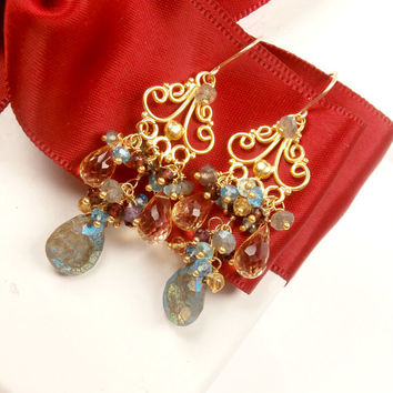 Multicolor Chandelier Earrings Labradorite Citrine Wire Wrapped Gold Chandelier