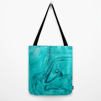 Watercolors teal Tote Bag by VanessaGF
