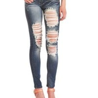 Machine Jeans Destroyed Denim Skinny Jean: Charlotte Russe